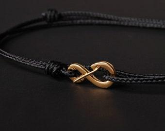 Herren Armband - Herren schwarz Armband - Herren Schnur - minimalistisch - Armband Gold - dünne schnurarmband für Männer - schwarze Schnur