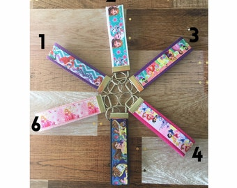 Princess Key Fob Wristlets / Ariel / Anna and Elsa / Beauty and the Beast / Aurora / Disney Princesses
