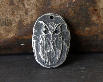 Owl Pendant, Handcrafted, Rustic, Jewelry Making, Crafting, Craft Supplies No. 8PD