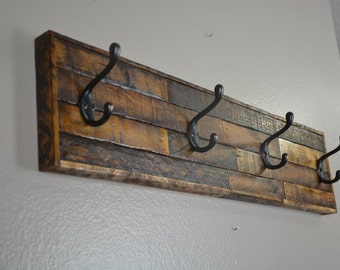 Rustic Coat Rack, Barnwood, Entryway, Towel Hooks, Hooks, Tobacco Lath, Distressed Wood, Country, Primitive