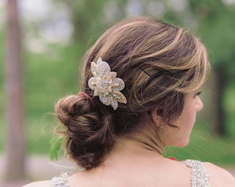 Gold and silver bridal hair comb - Style R49