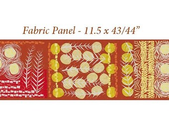 "Block Print Quilt Fabric Panel, Robert Kaufman, Marks 16357 141 Saffron, Valori Wells, Rust, Red, Saffron, Khaki, 11.5 x 43/44"", Cotton"