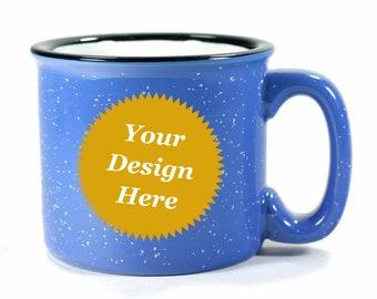 Custom Ocean Blue Camp Mug - ceramic periwinkle speckled coffee cup