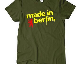 Women's Made in Berlin Tee - S M L XL 2x - Ladies Berlin Germany T-shirt - 4 Colors