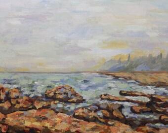 Seawall original oil painting
