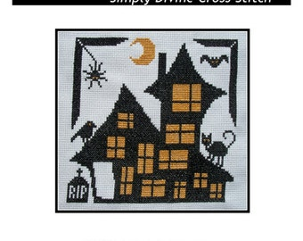 PDF E pattern emailed HALLOWEEN Haunted House Cross Stitch Pattern Sampler 119