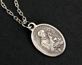 Saint Aloysius Necklace. Christian Necklace. St Aloysius Medal Necklace. Patron Saint Necklace. Catholic Jewelry. Catholic Saint Necklace.