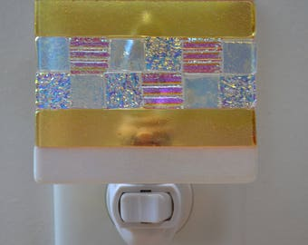 Pastel Colors Dichroic and Iridescent Fused Glass Night Light