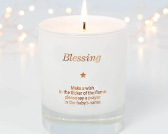 Baby Christening Gift, Godparents Gift, Gifts For Godchild, Baptism Gift, Blessing Candle, Scented Candle, Make a Wish Candle