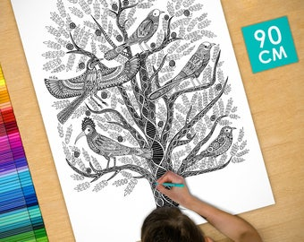 Poster / Poster deco coloring (90cm) tree of life - coloring for adults
