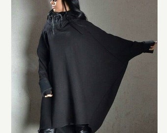 Plus size tunic, black loose top, plus size top, loose tunic, asymmetric loose top, black loose blouse, extravagant blouse, plus size hoodie