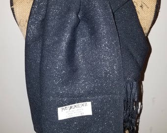 Black shimmer 100% pashmina scarf with fringe