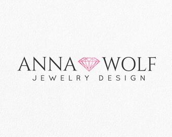 Jewelry Logo Diamond Logo Photography Logo Gemstone Logo Bohemian Shop Blog Logo Watermark Logo Boutique Brand Logo Custom Logo Design #PL26