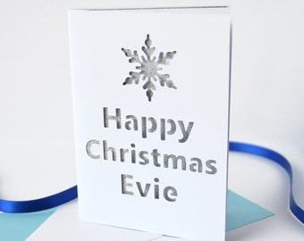 Personalised Christmas Snowflake Glitter Cut Out Card - Christmas Card - Personalised Card - Personalized Christmas Card - Glittery Card