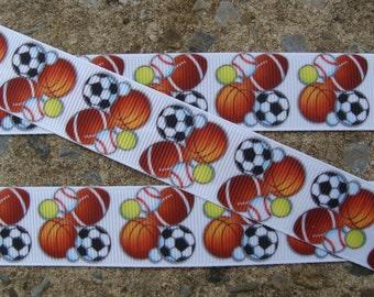 """3 yards Sports Balls  Printed Ribbon 7/8"""""""