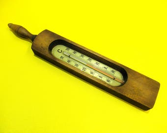 Vintage Bath Thermometer with Wooden Frame, Old European Bath Thermometer, Wooden Casing, Wall Hanging, Weather Instruments, BalMinDi