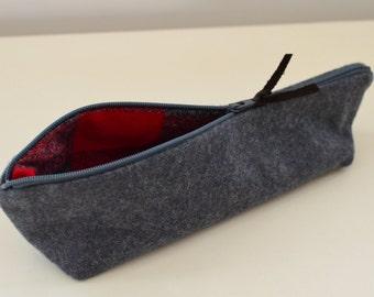 Pencil Case in Gray Wool - zipper pouch travel bag mens womens school toiletry art supplies cord organizer