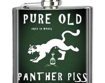 Vintage Whiskey Flask, Photo Flask, Art Flask, Liquor Flask, Hip Flask - Handmade - PANTHER PISS - Sealed in Resin - 4 sizes