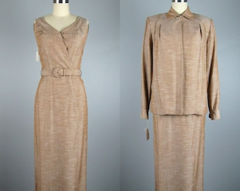 Vintage Early 1950s Dress & Jacket Set 50s Rayon Linen Suit by DeDe Johnson NOS Size 4 S