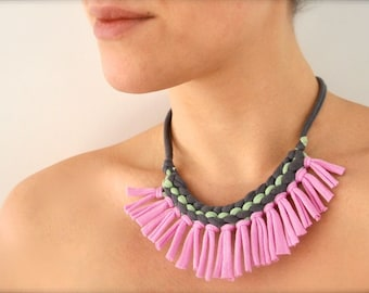 Pastel tribal statement necklace - fringe tribal pink purple mint green gray