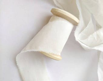 IVORY Ribbon, Hand dyed ribbon, White Cotton Silk Ribbon, White ribbon, Invitation Ribbon Bouquet Ribbon, Ribbon on spool, Wedding Ribbons