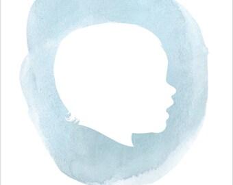 WATERCOLOR CUSTOM CAMEO child /children / pet silhouette