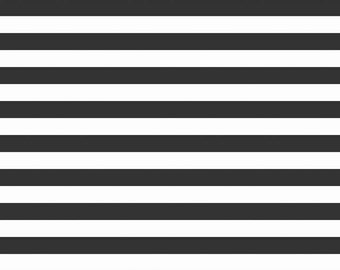 """SALE Black and White 1/2"""" Half Inch Stripe by Riley Blake Designs - Jersey KNIT cotton lycra stretch fabric - choose your cut"""