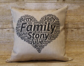 """Customized Family Names Throw Pillow 18"""" x 18"""" Mother's Day Heart"""