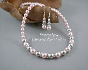 Bridesmaid jewelry, Bridal necklace earrings set, Gift for bridesmaids, Wedding shower gift, Swarovski pearls, Light grey pink pearls