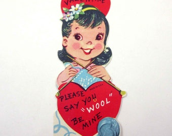 Vintage Unused Children's Novelty Valentine Card with Little Girl Knitting Yarn Needles