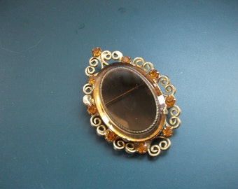 Vintage Amber Glass Cabochon Rhinestone Accents Pendant Brooch Pin