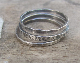 Sterling Silver Stacking Rings, Stamped Ring, Thin Silver Ring, Boho Ring Set