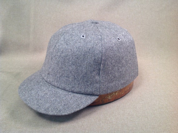 Solid Dark Grey soft wool flannel cap with adjustable leather strap with  leather sweatband,