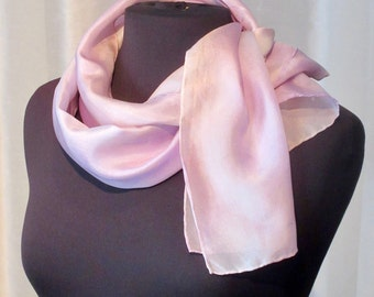 Pink Pearl Hand Painted Silk Scarf, One of a Kind, Designer Original Made in USA, Valentines Day Gift for Her, Spring Fashion,