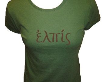 HOPE in Greek Organic Cotton and Organic Bamboo Women's Shirt in Green - Tshirt Size S, M, L, XL - Christian Womens Shirt