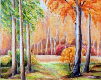 Autumn Forest, Original Oil Painting, Landscape Wall Art, Autumn Painting, Impressionism painting