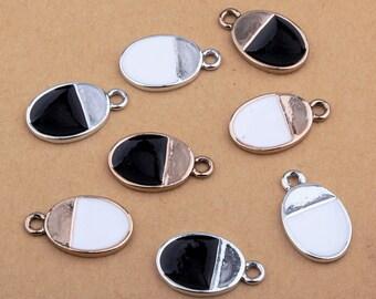 8pcs-enamel oval tag charm