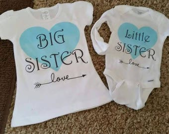 Custom Big Sister, Little Sister Matching Onesie/T-Shirt
