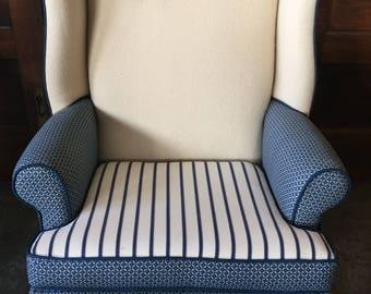 U.S. Navy Blanket Wing Back Chair