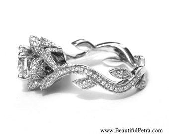Blooming Work of Art - Beautiful Flower Rose Lotus Diamond Engagement Ring Setting Semi mount - 14K - fL07 - Beautiful Petra Patented design