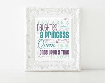 "Princess Print- Daughter of God, Inspirational Print 8"" by 10"""