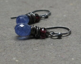 Tanzanite Earrings Pink Tourmaline Wire Wrapped Oxidized Sterling Silver Gift for Her