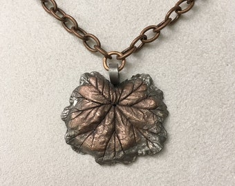 Zonal Geranium Leaf - Copper, with Chain
