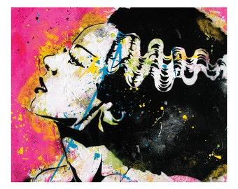 Bride of Frankenstein - 18 x 12 High Quality Pop Art Print