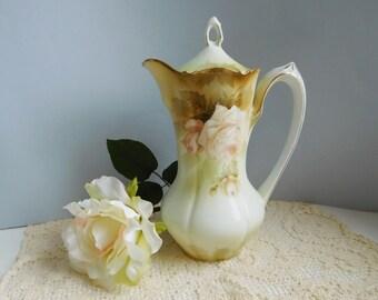 Vintage porcelain chocolate pot Vintage rose chocolate pot