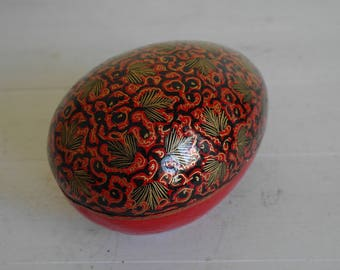 Papier Mache Box in Red and Gold, Jewellery Box, Trinket Box, Chocolate Box, Egg, Oval.