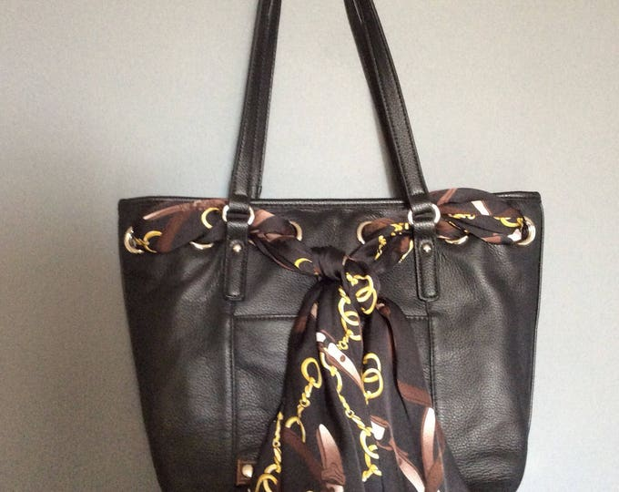 Black Leather Equestrian Horse Handbag Purse with Satin Horse Bit Scarf