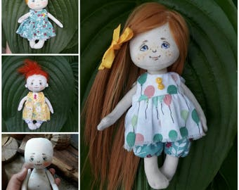 Pattern of a small doll and her clothes