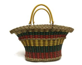 Mid Century French Market Basket. Vintage Wicker and Plastic Coated Basket. Scoubidou Shopping Basket.