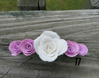 Purple and white rose hair clip